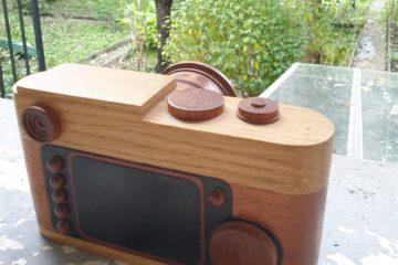 Photo leica m9 en bois, angle vue de dessus